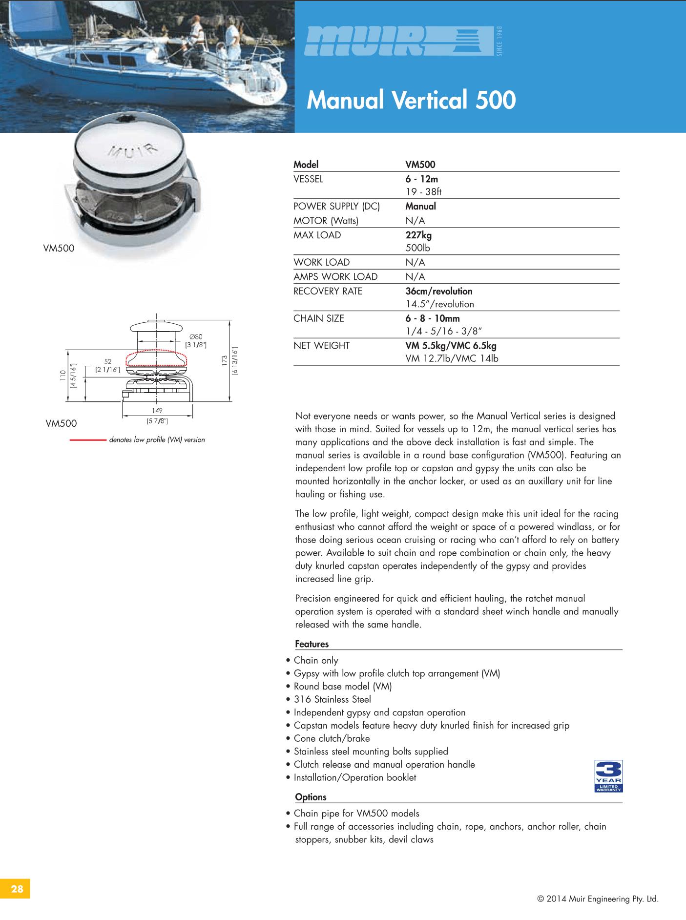 Datenblatt MUIR VM500 Manuelle Handankerwinde, vertikal