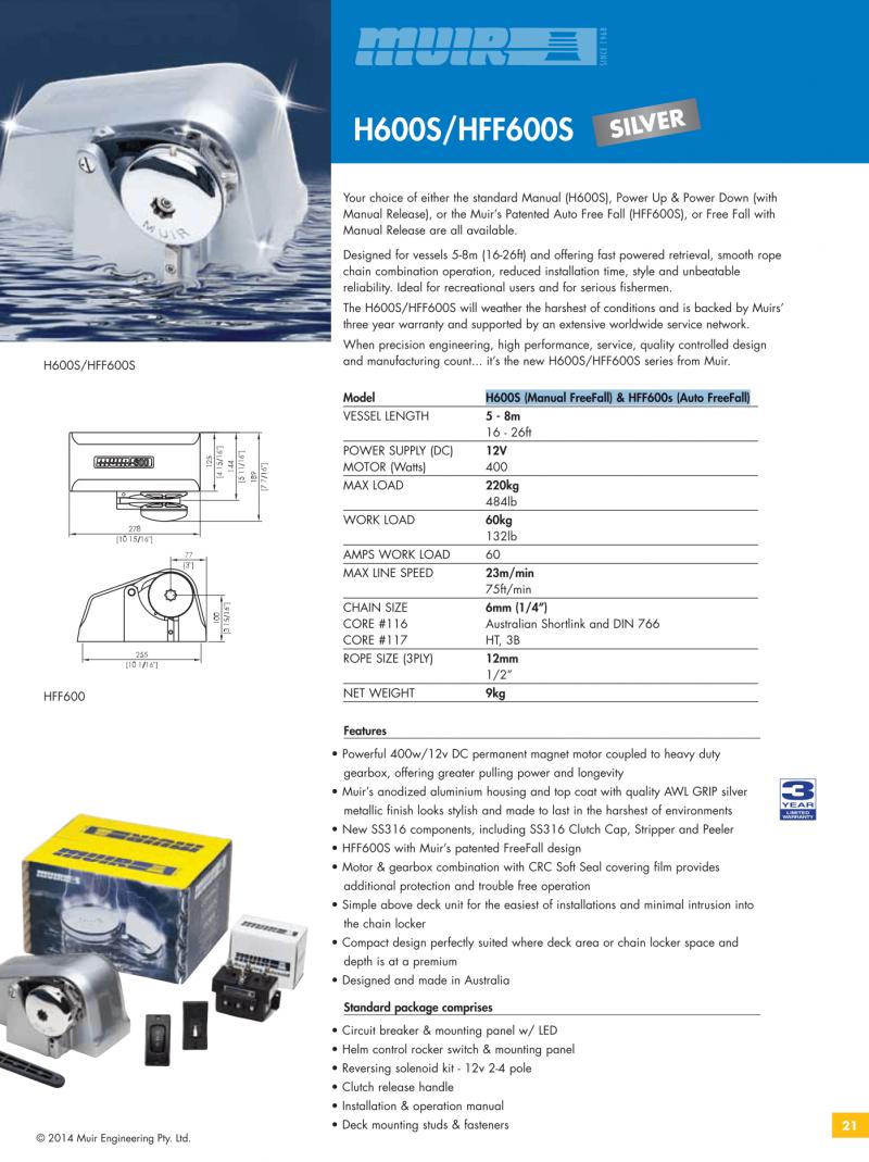 Datenblatt MUIR elektrische horizontale Ankerwinde für Motorboote, Segelyachten, Luxusyachten und Sportboote - HFF600s & H600s