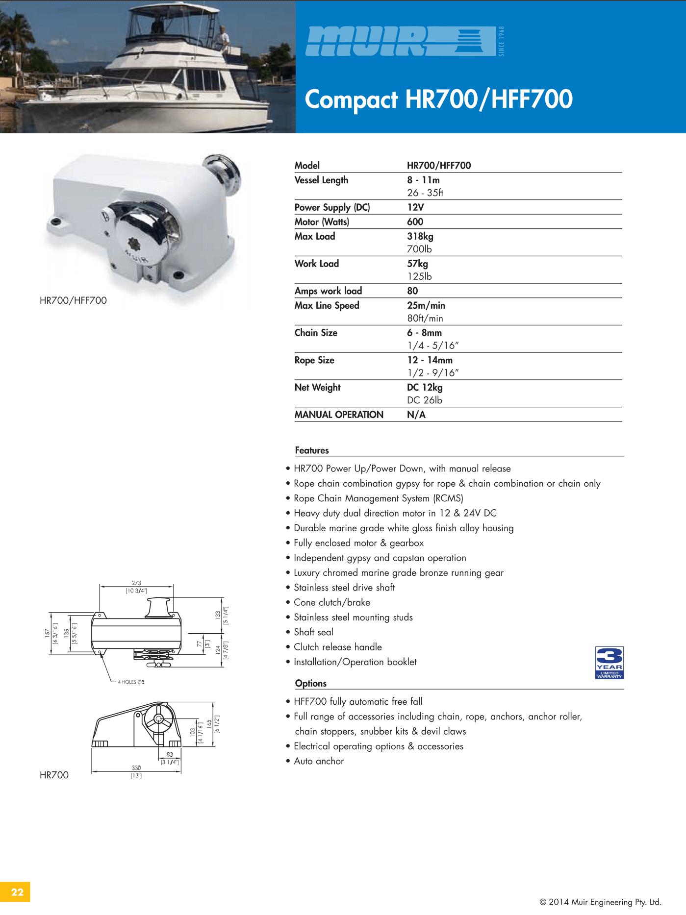 Datenblatt MUIR elektrische horizontale Ankerwinde für Motorboote, Segelyachten, Luxusyachten und Sportboote - HR700 & HFF700
