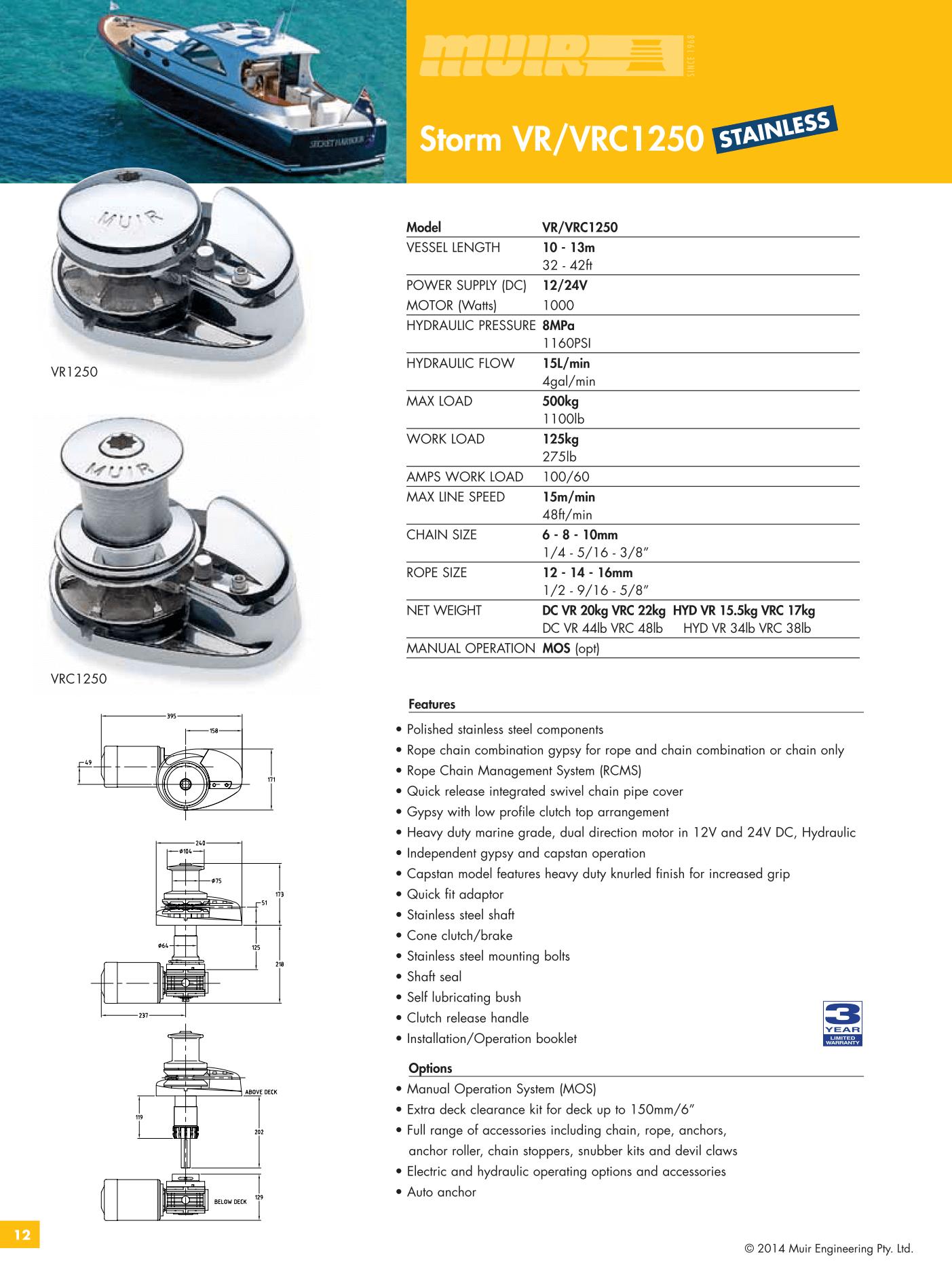 Datenblatt MUIR elektrische vertikale Ankerwinde für Yachten und Sportboote - VR1250 & VRC1250