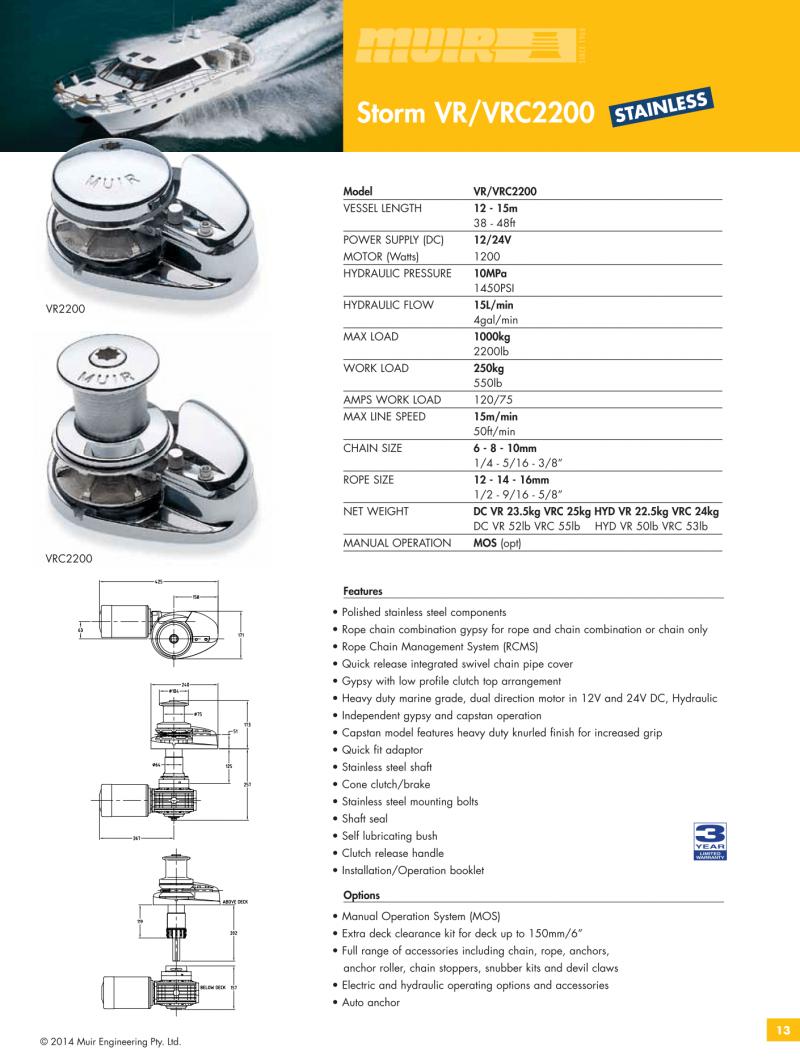 Datenblatt MUIR elektrische vertikale Ankerwinde für Motorboote, Segelyachten, Luxusyachten und Sportboote - VR2200 & VRC2200