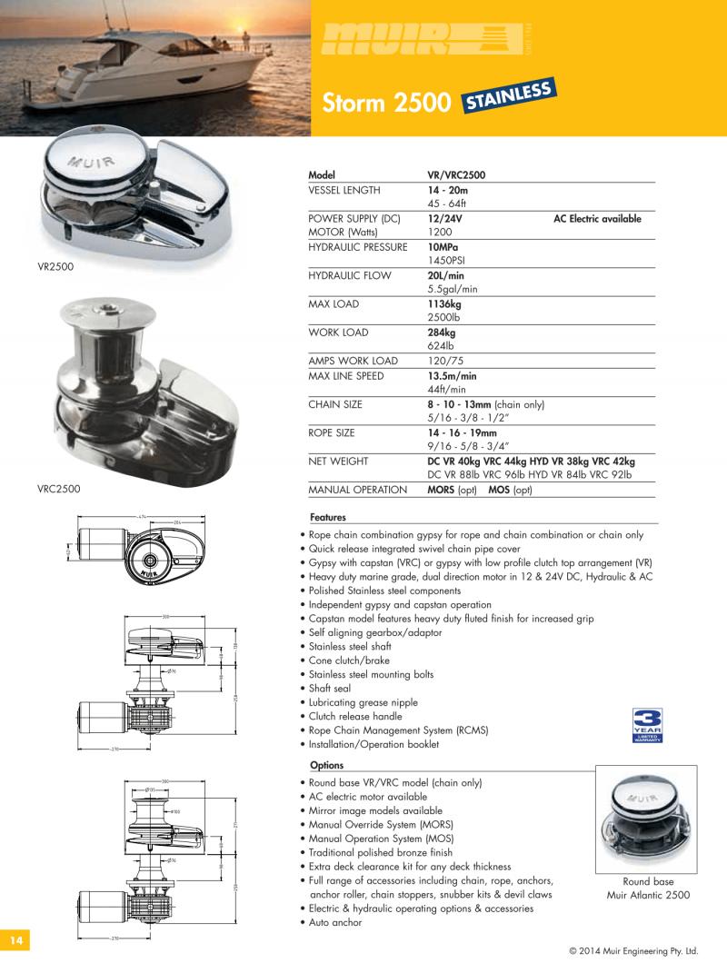 Datenblatt MUIR elektrische vertikale Ankerwinde für Motorboote, Segelyachten, Luxusyachten und Sportboote - VR2500 & VRC2500