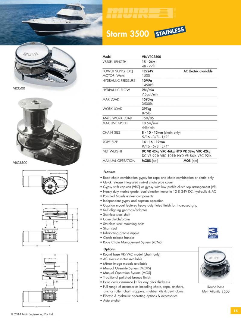 Datenblatt MUIR elektrische vertikale Ankerwinde für Motorboote, Segelyachten, Luxusyachten und Sportboote - VR3500 & VRC3500