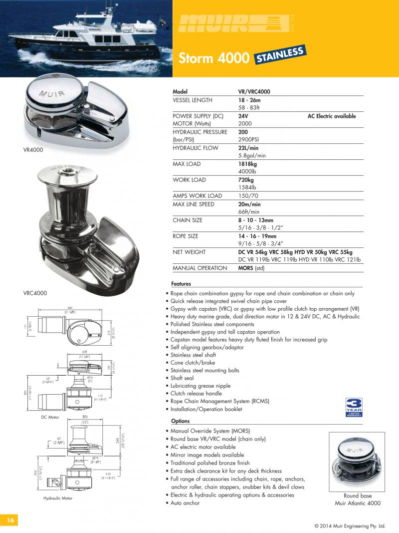 Datenblatt MUIR elektrische vertikale Ankerwinde für Motorboote, Segelyachten, Luxusyachten und Sportboote - VR4000 VRC4000