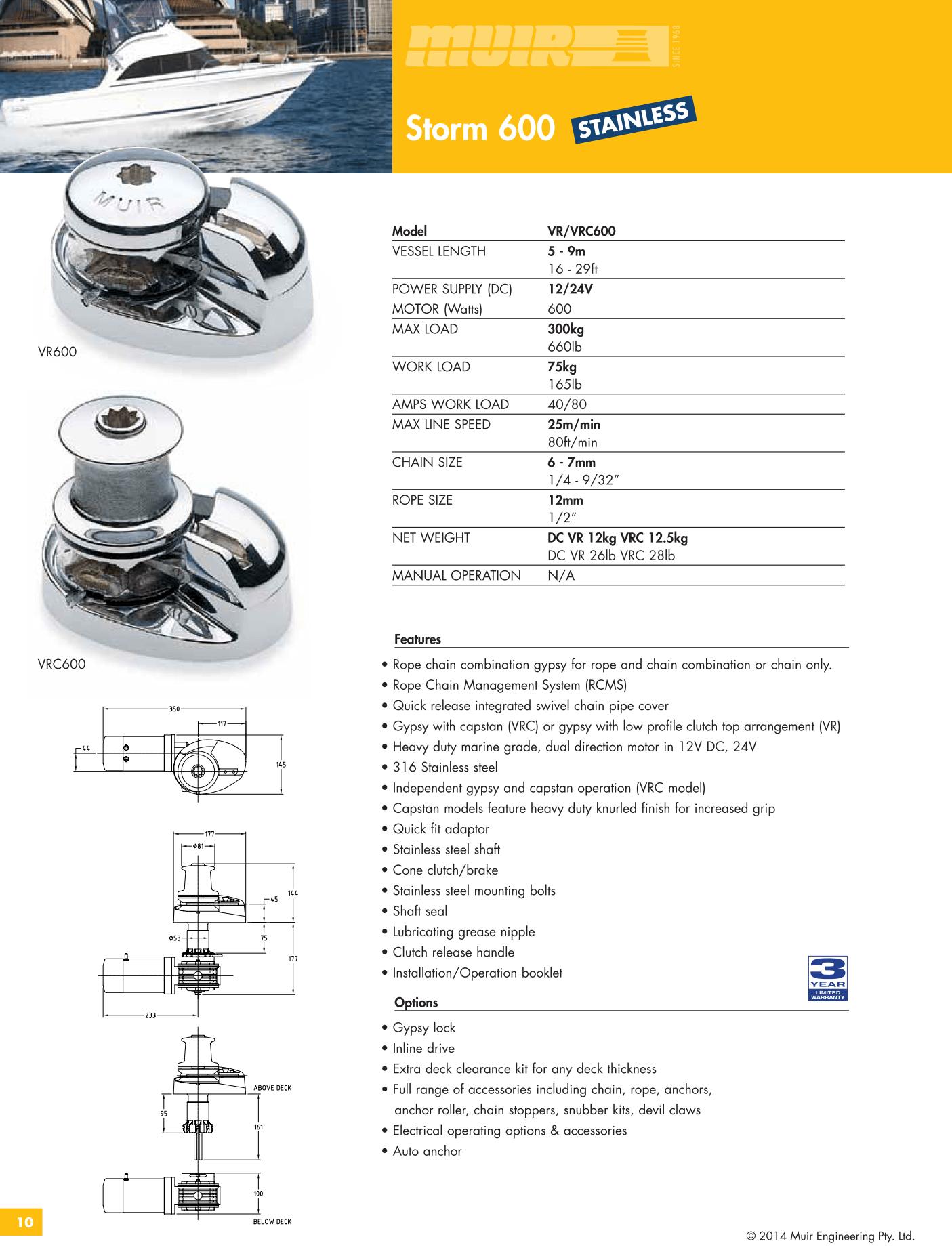 Datenblatt MUIR elektrische vertikale Ankerwinde für Motorboote, Segelyachten und Sportboote VR600 VRC600