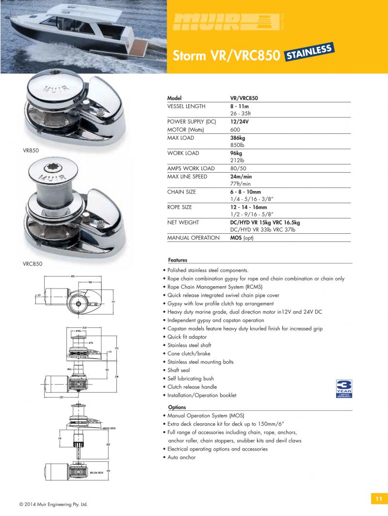 Datenblatt MUIR elektrische vertikale Ankerwinde für Motorboote, Segelyachten und Sportboote VR850 VRC850
