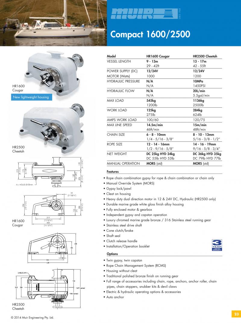 Datenblatt MUIR elektrische horizontale Ankerwinde für Motorboote, Segelyachten, Luxusyachten und Sportboote - HR1600_HR2500