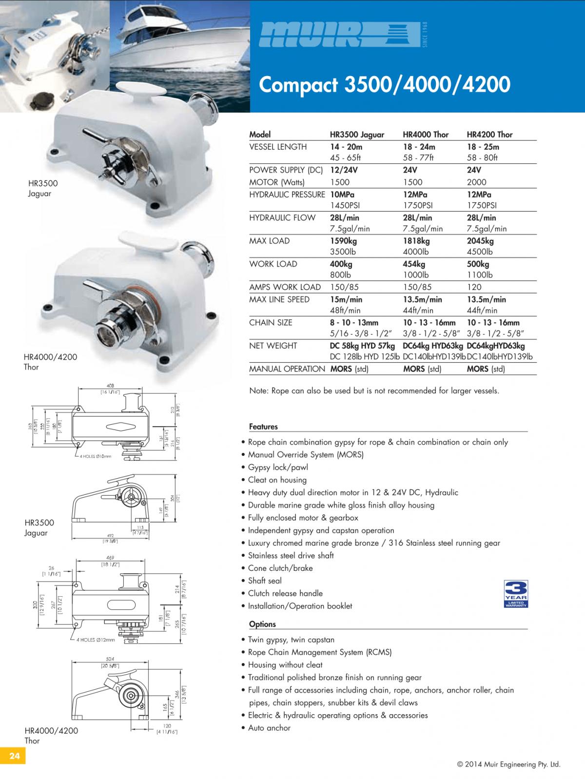 Datenblatt MUIR elektrische horizontale Ankerwinde für Motorboote, Segelyachten, Luxusyachten und Sportboote - HR3500_HR4000_HR4200